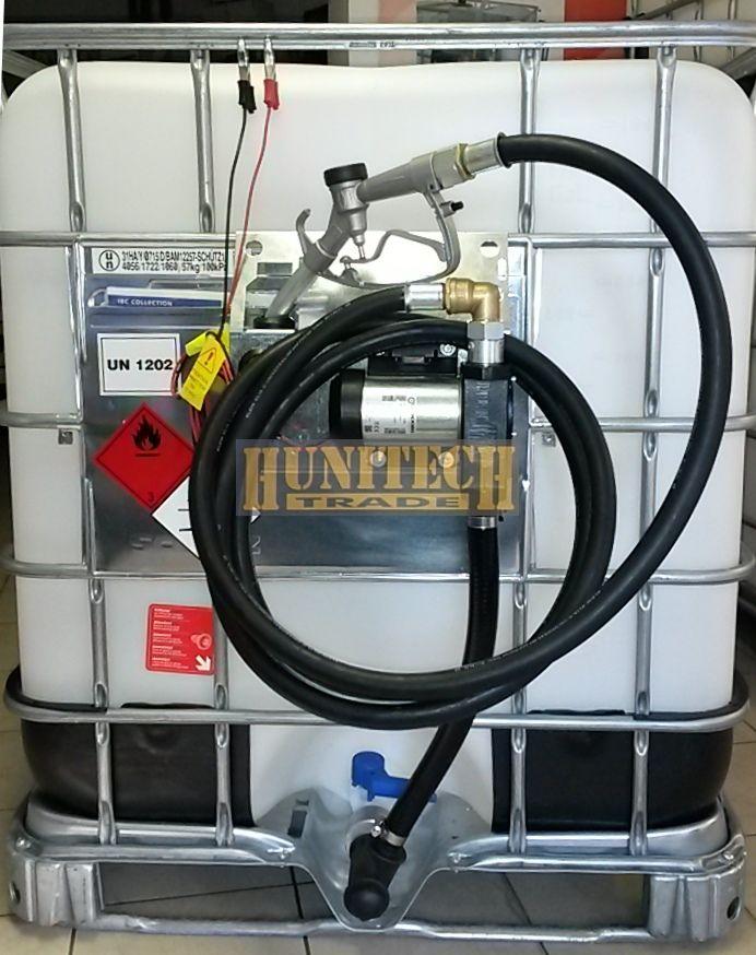 IBC gázolajtartály, ADR-rel 1000 literes + IRON-50 gázolajszivattyú, 12V. 1000M kit