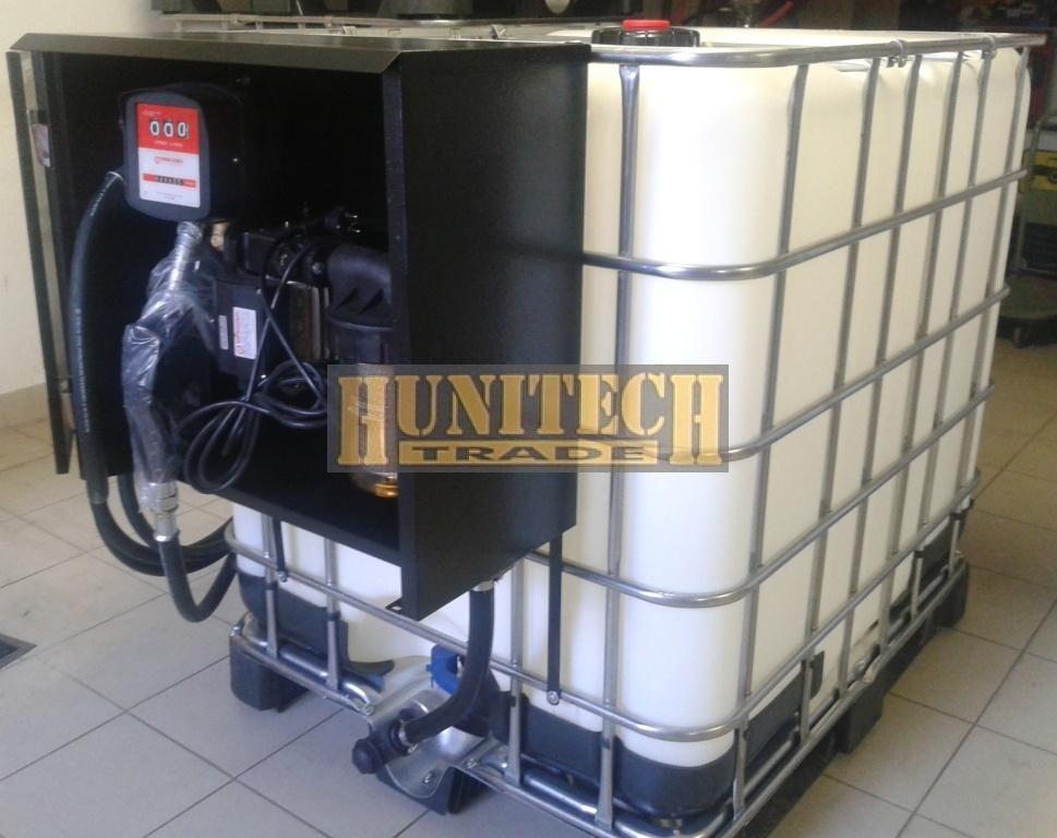 IBC tartály 1000 literes + Kit Equipe 230V. gázolajszivattyú, mechanikus átfolyás-mérővel,